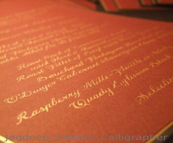 Menu-Calligraphy-Hand lettering-Gold-Soul-Scribe-Ireland