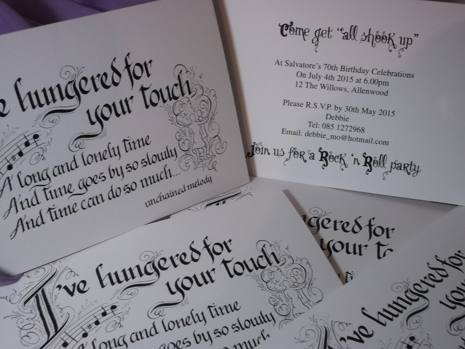 Party Invitation using the words from Elvis song I've hungered for your touch
