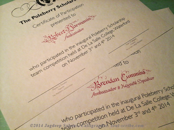 Certificates inscribed with participants names