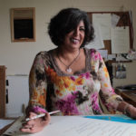 Jagdeep Sahans Calligrapher at her desk